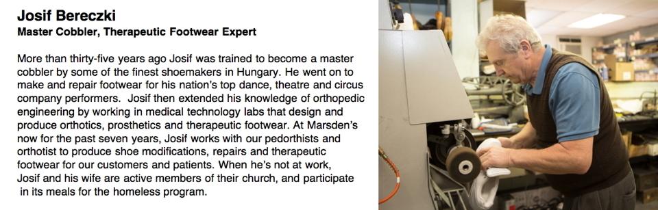 Josif Bereczki Master Cobbler, Therapeutic Footwear Expert
